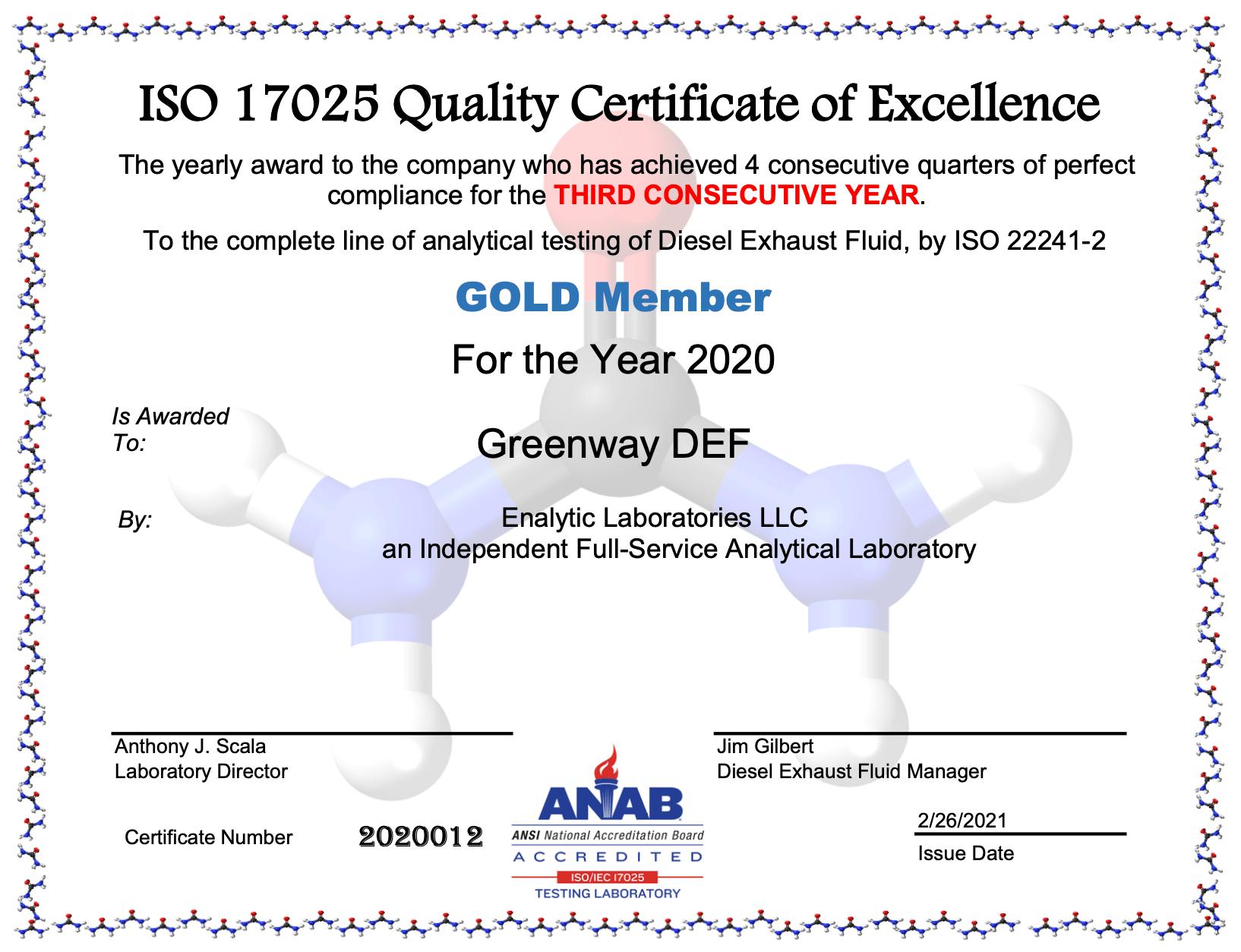 Deisel Exhaust Fluid Certification